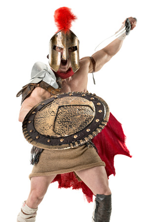 Ancien guerrier ou Gladiateur posant sur un fond blanc Banque d'images - 90247959