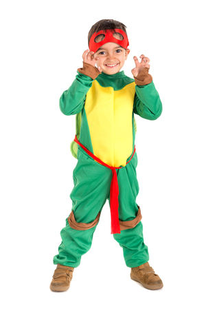 Young boy in a costume isolated in white Stock Photo