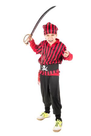 Jonge jongen in piraat kostuum voor Halloween