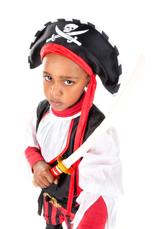 Young boy in pirate costume for Halloween