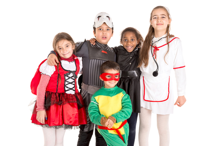 Group of kids in HalloweenCanaval costumes isolated