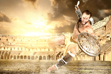 Ancient warrior or Gladiator ready to fight in the arena 写真素材