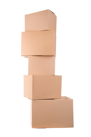 Stack of cardboard boxes isolated in white Reklamní fotografie