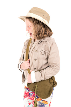 Young girl with Safari clothes isolated in white Stock Photo