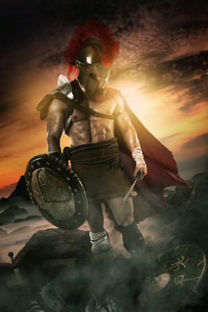 Ancient warrior or Gladiator after the battle.