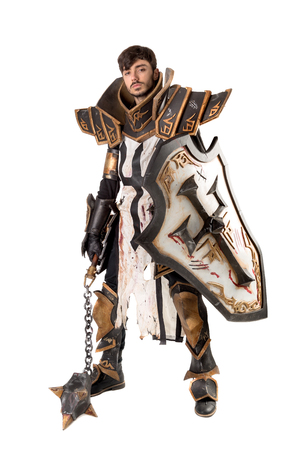 Young man cosplaying with fantasy knight costume 版權商用圖片