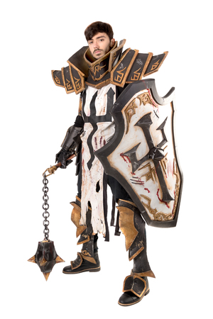 Young man cosplaying with fantasy knight costume Stock fotó