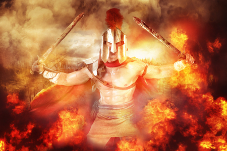Ancient warrior or Gladiator in a battle amongst flames