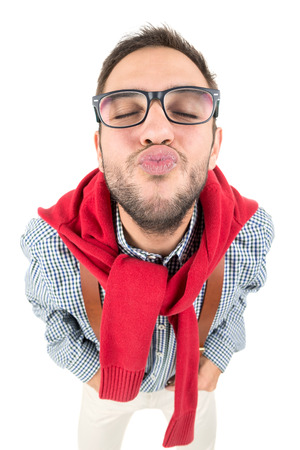 Happy nerd kissing isolated in a white background