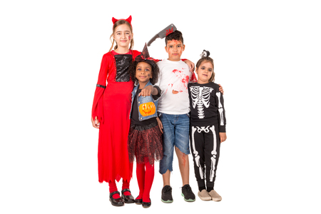 Group of kids in HalloweenCarnaval costumes isolated 스톡 콘텐츠