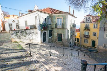 Beautiful and unique Alfama district in Lisbon, Portugal Stock fotó - 107961329