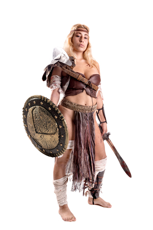 Ancient woman warrior or Gladiator isolated in white 版權商用圖片