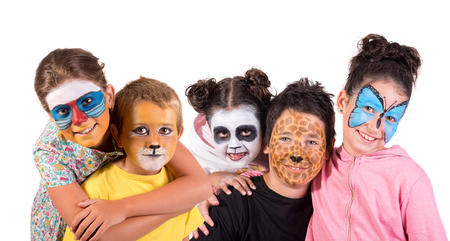 Children with animal face-paint isolated in white Stockfoto