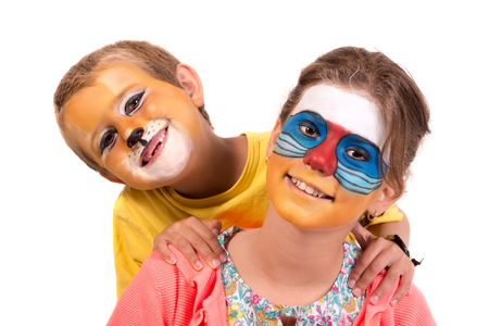Children's couple with animal face-paint isolated in white Archivio Fotografico - 113700635