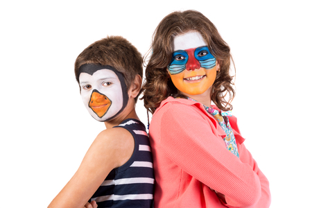 Children's couple with animal face-paint isolated in white Archivio Fotografico - 113700649