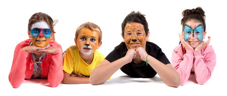 Children's group with animal face-paint isolated in white
