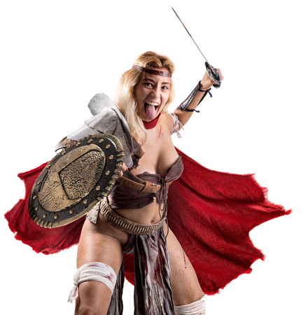 Ancient woman warrior or Gladiator isolated in white Фото со стока