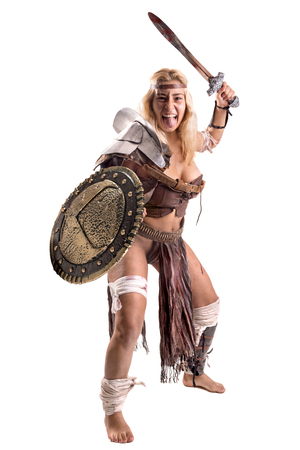 Ancient woman warrior or Gladiator isolated in white Stock Photo