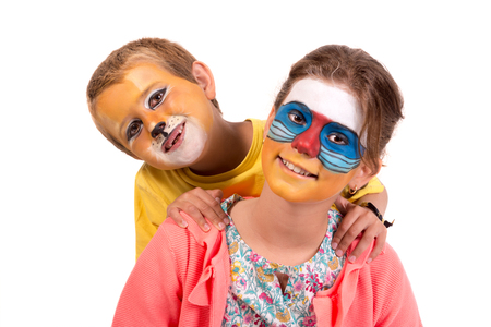 Children's couple with animal face-paint isolated in white Archivio Fotografico - 117135891