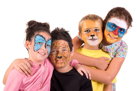 Children with animal face-paint isolated in white