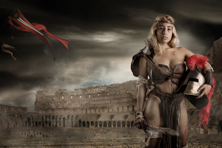 Ancient woman warrior or Gladiator in the arena Stok Fotoğraf