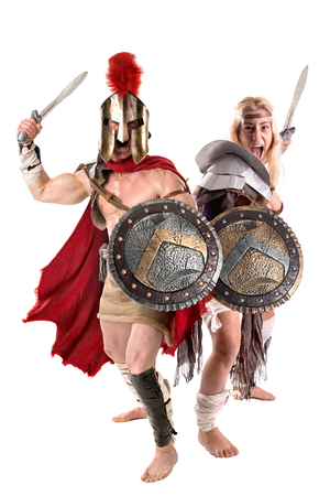 Ancient warrior or Gladiator couple posing in a white background Stok Fotoğraf