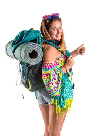 Happy hiker girl with backpack isolated in white, trekking and travel lifestyle concept