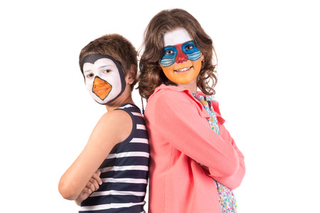 Children's couple with animal face-paint isolated in white Archivio Fotografico - 122112081