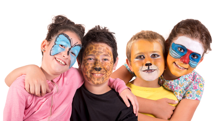 Children with animal face-paint isolated in white Stok Fotoğraf
