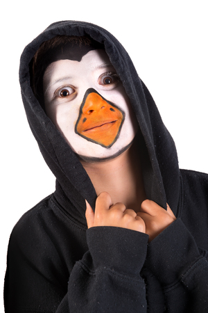 Boy with animal face-paint isolated in white Stok Fotoğraf