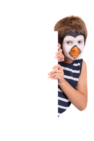 Boy with animal face-paint over a white board isolated in white Stok Fotoğraf