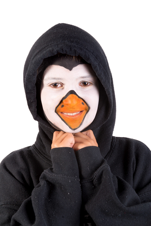Boy with animal face-paint isolated in white Stock Photo