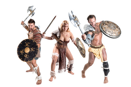 Ancient warrior or Gladiator's group ready to fight, isolated in white Фото со стока