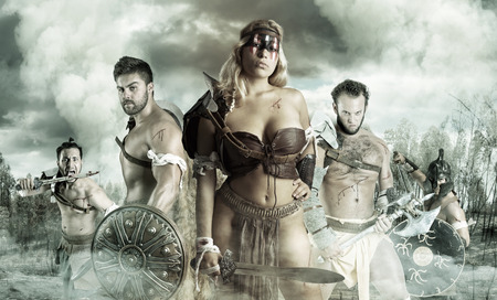 Ancient warrior or Gladiator's group ready to fight outdoors