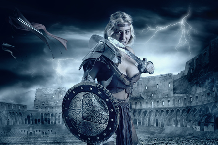 Ancient woman warrior or Gladiator in the arena Stock Photo