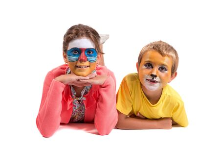 Children's couple with animal face-paint isolated in white Archivio Fotografico - 125136683