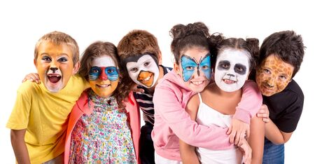 Childrens group with animal face-paint isolated in white
