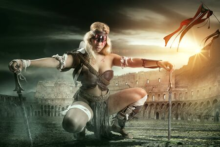 Ancient woman warrior or Gladiator in the arena with swords