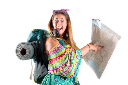 Hiker girl with backpack and map isolated in white, trekking and travel lifestyle concept Stock Photo
