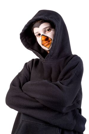 Boy with animal face-paint isolated in white Banco de Imagens