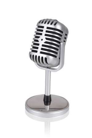 Old style microphone isolated in a white background Banco de Imagens