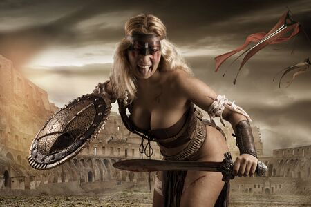 Ancient woman warrior or Gladiator in the arena Banco de Imagens