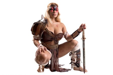 Ancient woman warrior or Gladiator isolated in white Banco de Imagens