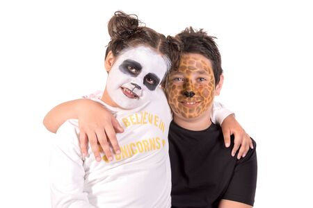 Children with animal face-paint isolated in white Banco de Imagens