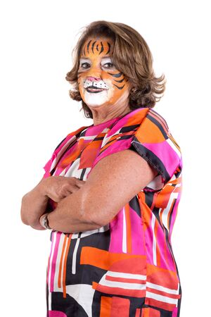 senior woman with tiger face-paint isolated in white