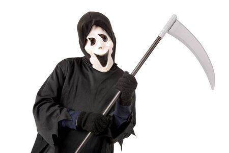 Kid with reaper mask in  Halloween costume isolated in white