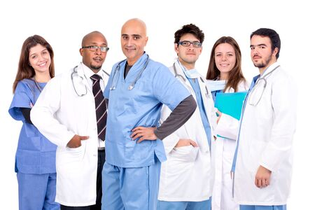 doctors group isolated against a white background Imagens
