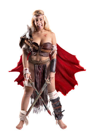 Ancient woman warrior or Gladiator isolated in white Zdjęcie Seryjne