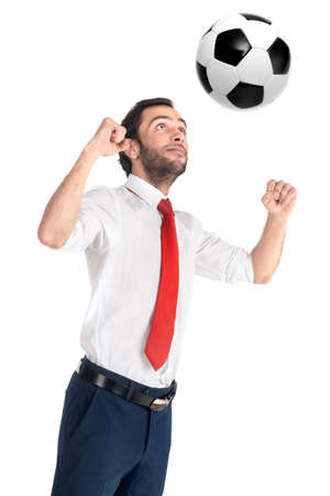 Businessman with soccer ball playing isolated in white