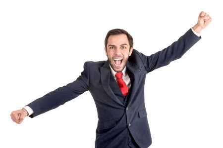Happy and successful businessman isolated in white